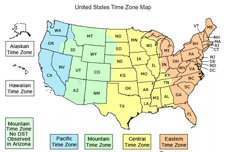United States all time zones
